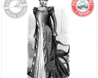 """E-Pattern- 1890s Victorian Dressing Gown- Tea Gown- Wrapper- Bust 37""""- Wearing History Victorian PDF Sewing Pattern"""
