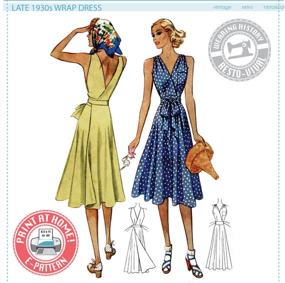 1940s Sewing Patterns – Dresses, Overalls, Lingerie etc 1939 Wrap Dress Pattern- Size 34