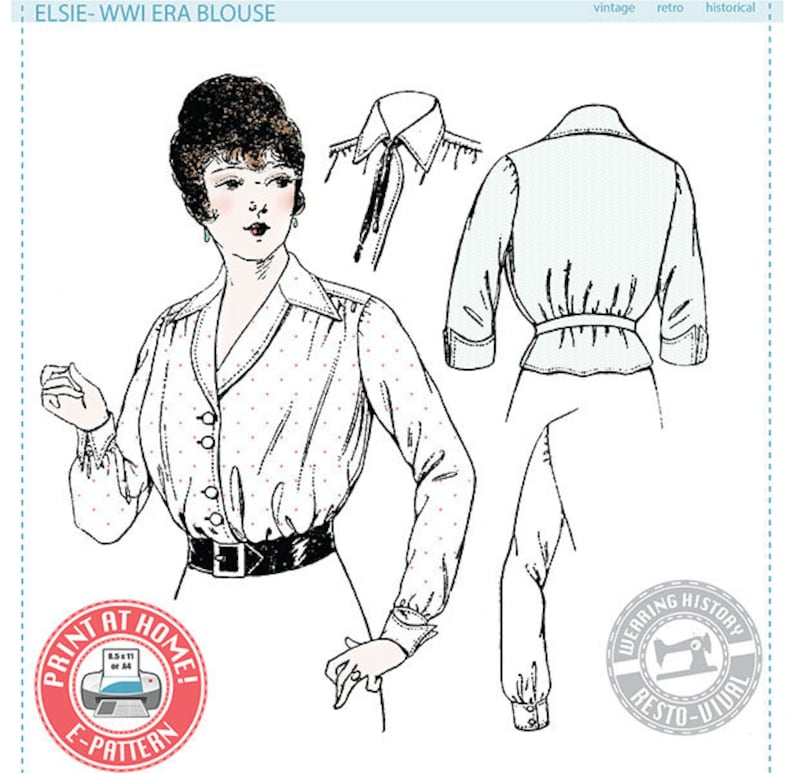 Edwardian Sewing Patterns- Dresses, Skirts, Blouses, Costumes E-Pattern- Elsie- 1910s WWI Era Blouse - Wearing History PDF Vintage Historical Costume Sewing Pattern $9.99 AT vintagedancer.com