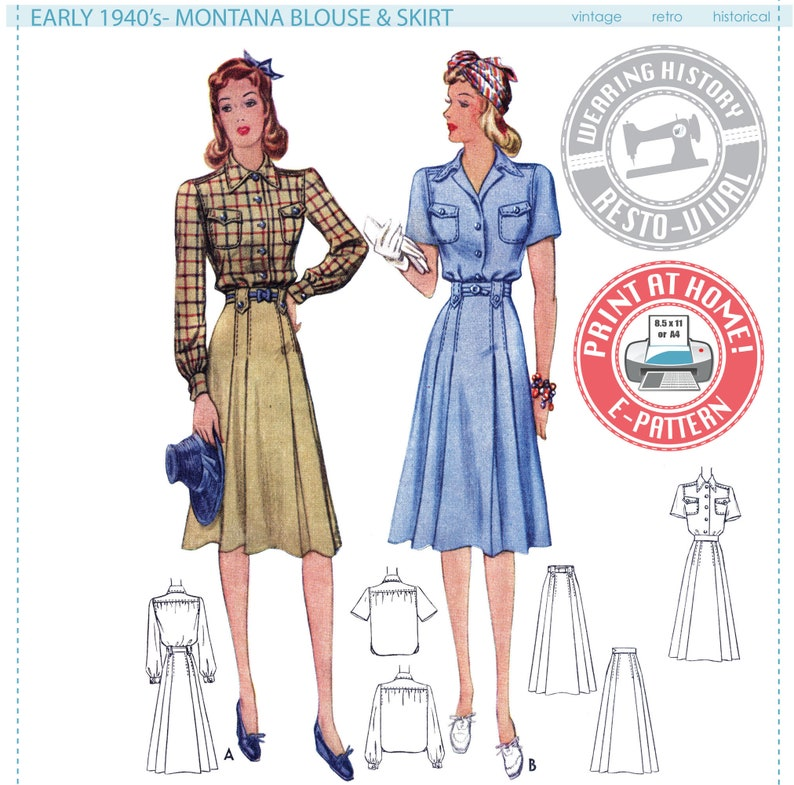 1940s Fabrics and Colors in Fashion Early 1940s Blouse & Skirt Pattern- Bust 30-42