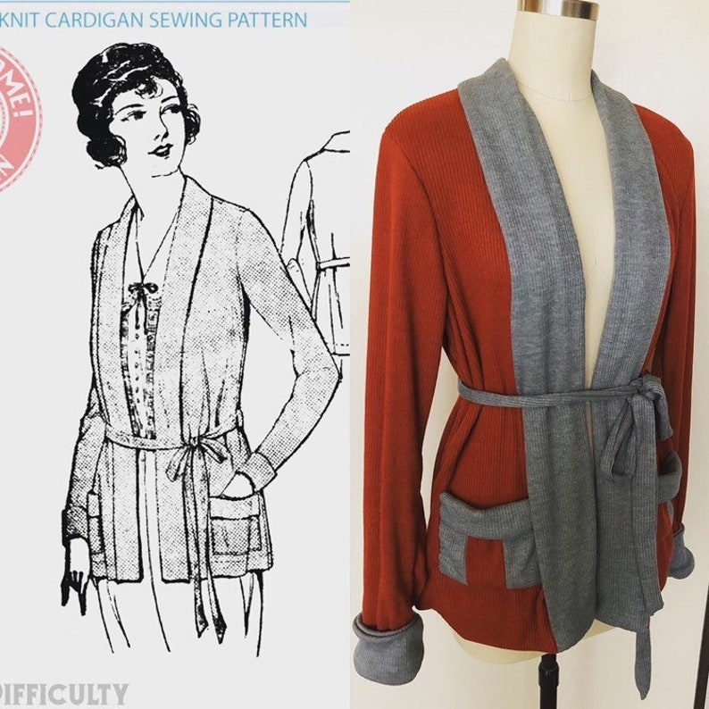 1920s Coats, Furs, Jackets and Capes History Early 1920s SEWING PATTERN Knit Cardigan Sweater -Wearing History PDF 1900 Vintage Historical Costume Sewing Pattern 20s Flapper $5.00 AT vintagedancer.com
