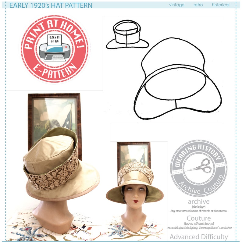 1920s Patterns – Vintage, Reproduction Sewing Patterns E-PATTERN Early 1920s Hat Pattern- Wearing History 1920s 20s 1910s WWI PDF Sewing Pattern $7.99 AT vintagedancer.com