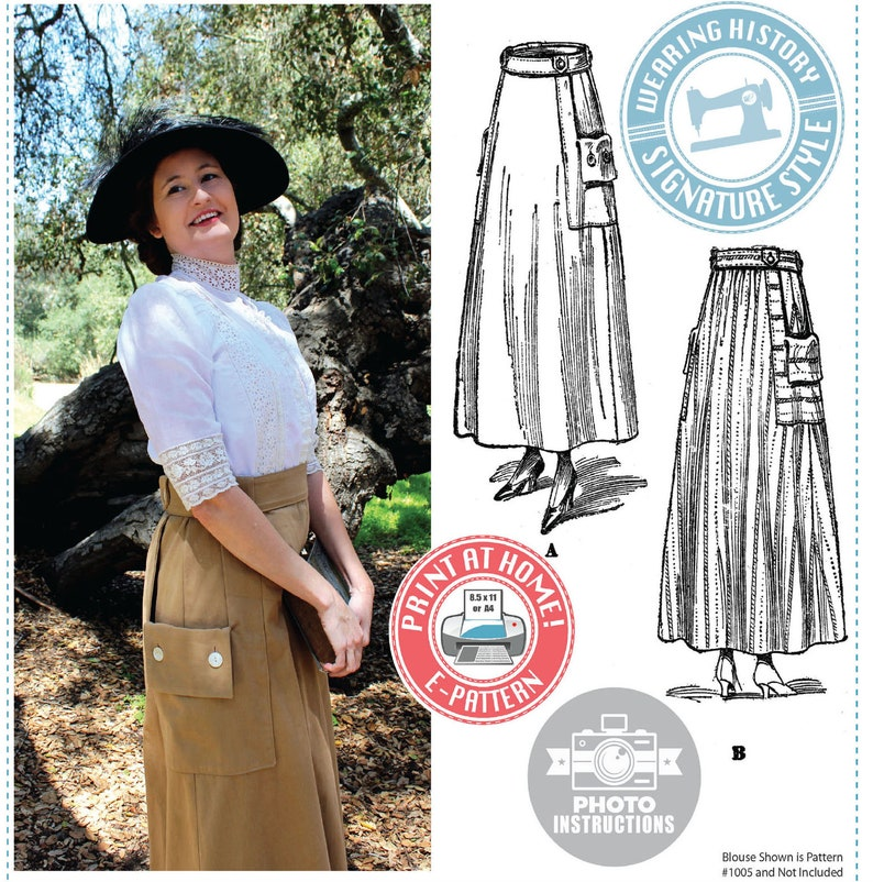Edwardian Sewing Patterns- Dresses, Skirts, Blouses, Costumes Evelyn 1910s Skirt Pattern- Circa 1917 E-Pattern PDF- Wearing History $12.00 AT vintagedancer.com