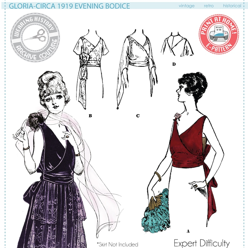 1920s Patterns – Vintage, Reproduction Sewing Patterns E-Pattern- Gloria- Circa 1919 Evening Bodice- Bust 34- 1910s 1920s Wearing History PDF Download Pattern $10.20 AT vintagedancer.com