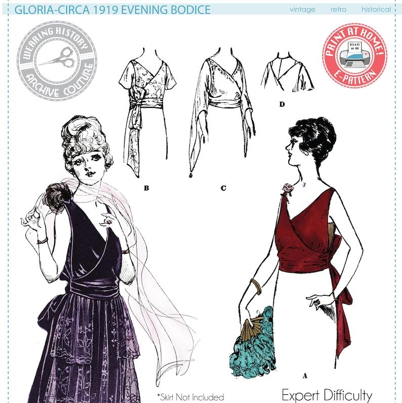 Titanic Fashion – 1st Class Women's Clothing E-Pattern- Gloria- Circa 1919 Evening Bodice- Bust 34- 1910s 1920s Wearing History PDF Download Pattern $10.20 AT vintagedancer.com