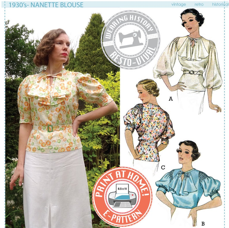 1930s Fashion Colors & Fabric E-PATTERN- Mid 1930s Nanette Blouse Pattern- Wearing History PDF Sewing Pattern Download $9.99 AT vintagedancer.com