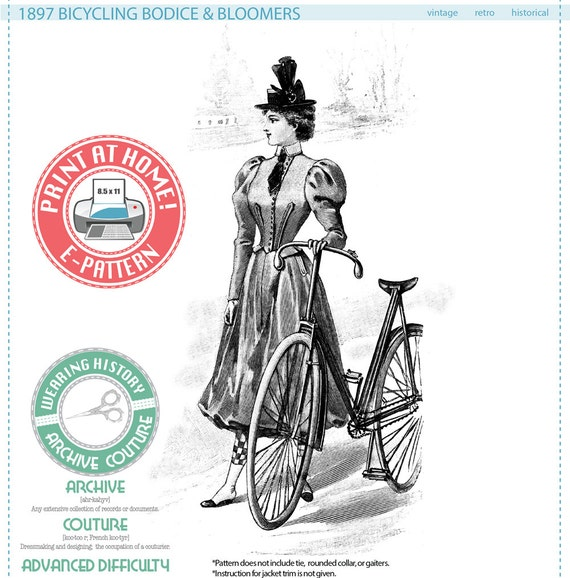 Steampunk Sewing Patterns- Dresses, Coats, Plus Sizes, Men's Patterns  1897 French Bicycle Outfit Pattern- Bodice & Bicycling Bloomers- Wearing History Victorian PDF Sewing Pattern $14.00 AT vintagedancer.com