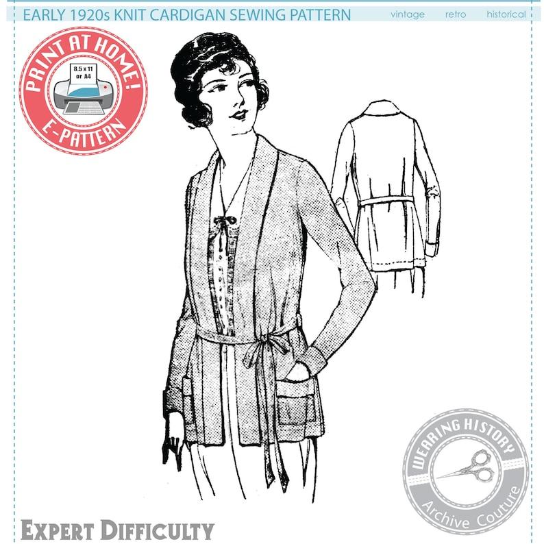 E-Pattern  Early 1920s SEWING PATTERN Knit Cardigan Sweater image 0