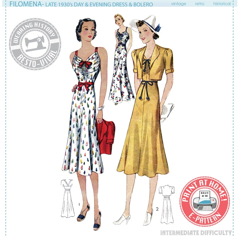 1930s Sewing Patterns- Dresses, Pants, Tops E-PATTERN- Filomena- Circa 1938 Day and Evening Dress and Bolero- Wearing History 1930s 30s PDF Pattern Download $12.00 AT vintagedancer.com