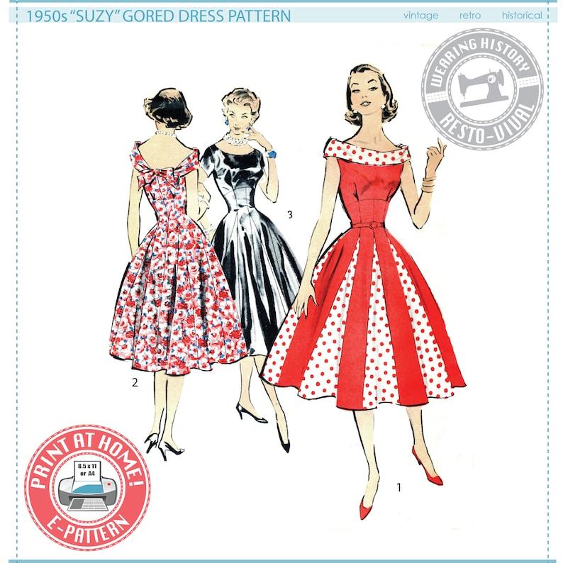 E-Pattern 1950s Suzy Gored Dress Pattern Sizes image 0