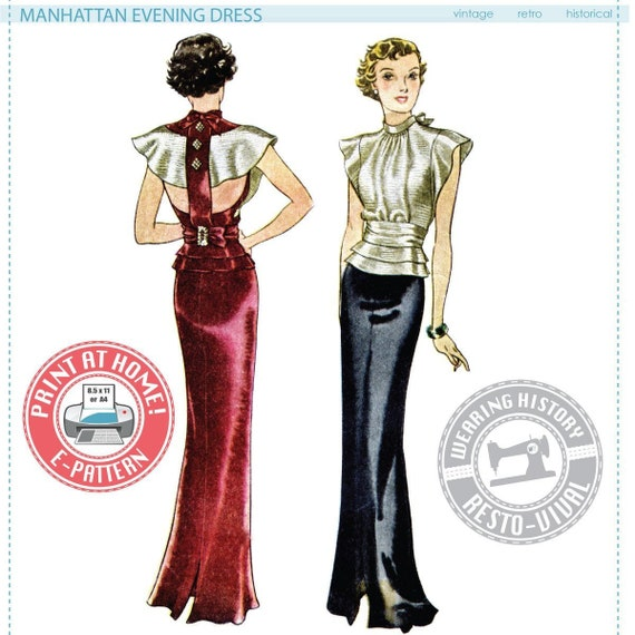 Retro Lingerie, Vintage Lingerie, New 1950s,1960s, 1970s  1930s Manhattan Evening Dress- Multisize- Wearing History PDF Vintage Sewing Pattern 30s $12.00 AT vintagedancer.com