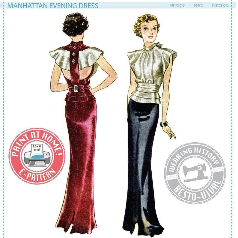 1930s House Dresses E-Pattern- 1930s Manhattan Evening Dress- Multisize- Wearing History PDF Vintage Sewing Pattern 30s $12.00 AT vintagedancer.com