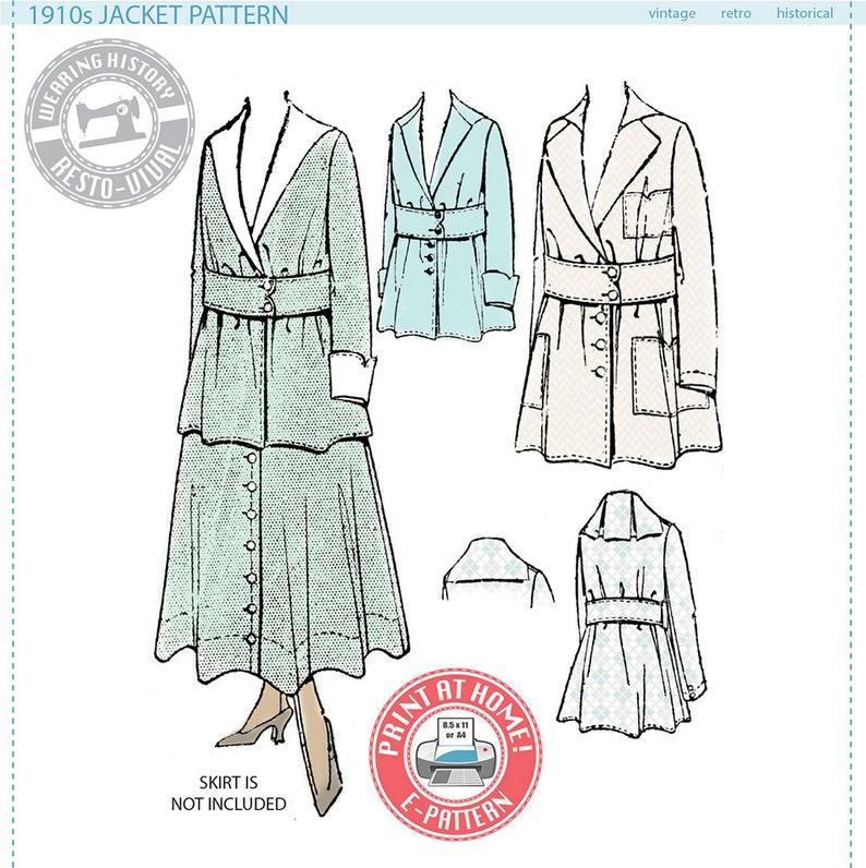 E-Pattern  1910s JACKET Circa 1916  Wearing History PDF image 0