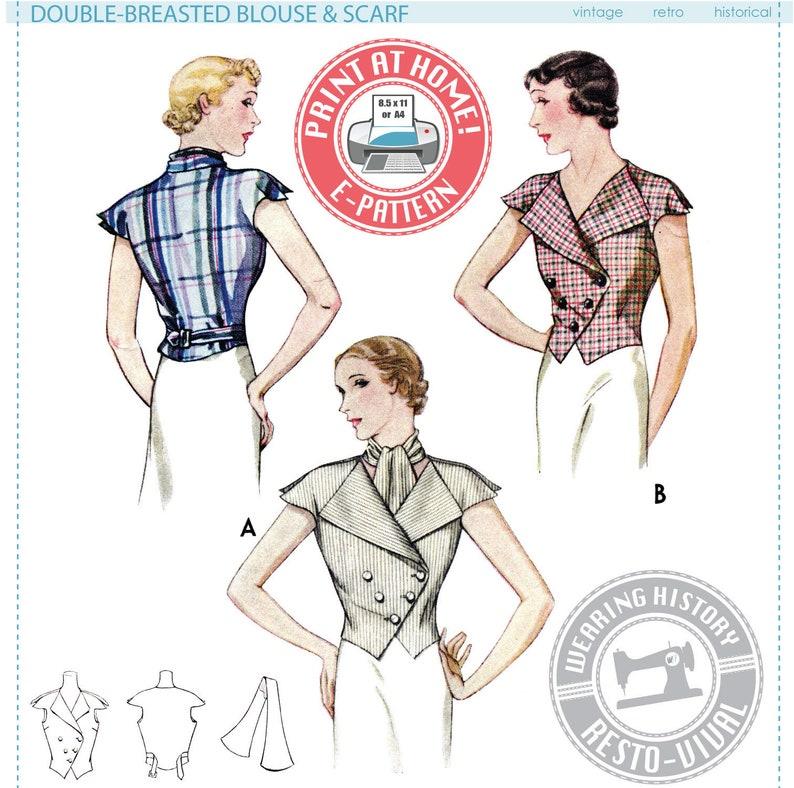 E-Pattern 1930s Summer Blouse Pattern 1930s Art Deco Double image 0