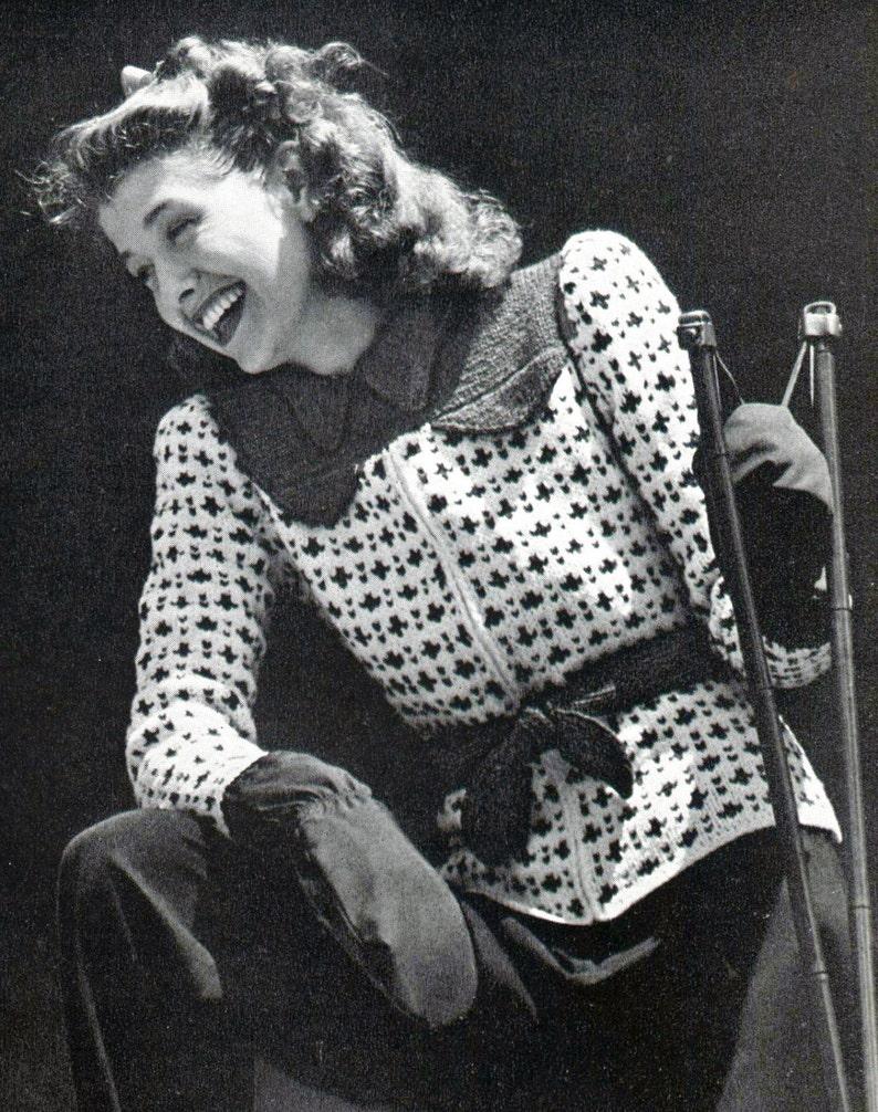 1940s Snow Belles Zip Up Ski Sweater  PDF Knitting Pattern image 0