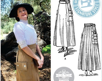 PHYSICAL COPY- Evelyn 1910s Skirt Pattern- Circa 1917 Paper Pattern- Wearing History