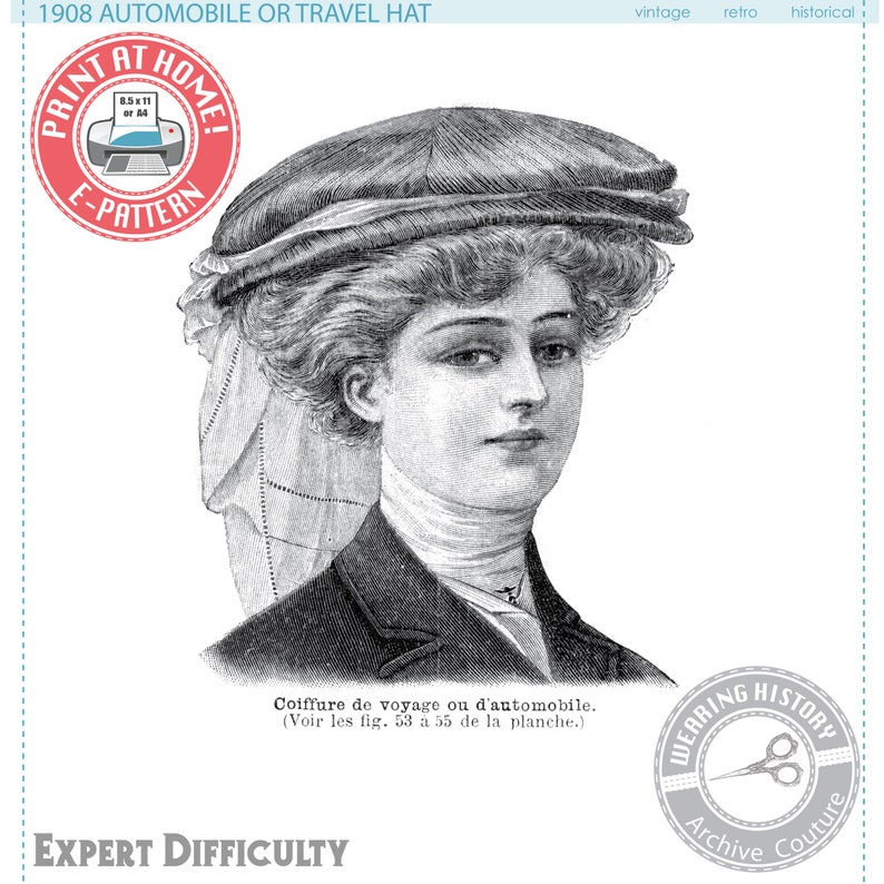 Tea Party Hats – Victorian to 1950s Edwardian 1900s Automobile or Travel Hat- Wearing History Victorian PDF Sewing Pattern $2.99 AT vintagedancer.com