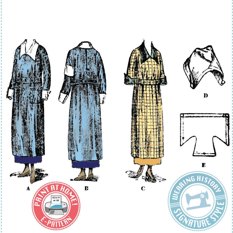 Edwardian Sewing Patterns- Dresses, Skirts, Blouses, Costumes 1918 WWI Era Canteen Uniform Apron & Cap PDF E-Pattern- House Dress- Wearing History $14.00 AT vintagedancer.com