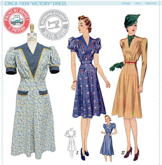 E-Pattern- Circa 1939 Victory Dress Pattern- 1930s 1940s- Wearing ...