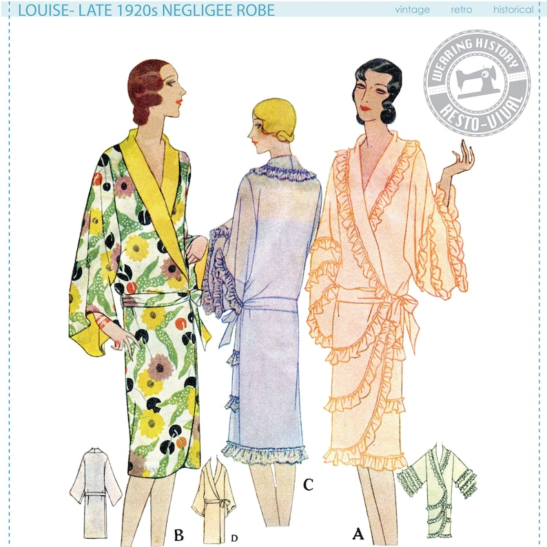 1920s Style Underwear, Lingerie, Nightgowns, Pajamas Late 1920s Negligee Robe Pattern- Wearing History PDF 1920s 20s Flapper Lingerie $9.99 AT vintagedancer.com