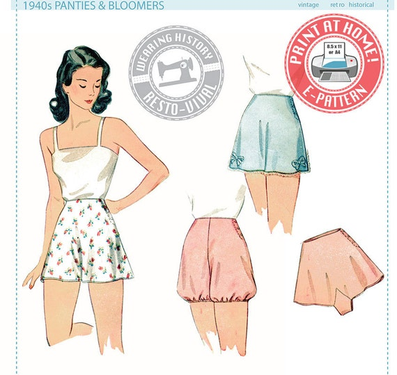 Retro Lingerie, Vintage Lingerie, 1940s-1970s 1940s Panties & Bloomers- Wearing History PDF Vintage Sewing Pattern $12.00 AT vintagedancer.com