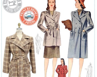 E-Pattern- Veronica 1940s Coat - Wearing History PDF Vintage Sewing Pattern 1940 40s