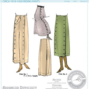 Edwardian Sewing Patterns- Dresses, Skirts, Blouses, Costumes E-Pattern- 1910s 1920s Riding Pants Wearing History Trousers Split Skirt Costume Steampunk Pattern PDF $12.00 AT vintagedancer.com