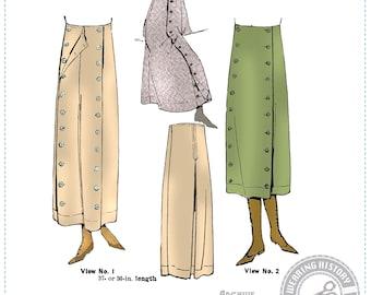 E-Pattern-  1910s 1920s Riding Pants Wearing History Trousers Split Skirt Costume Steampunk Pattern PDF