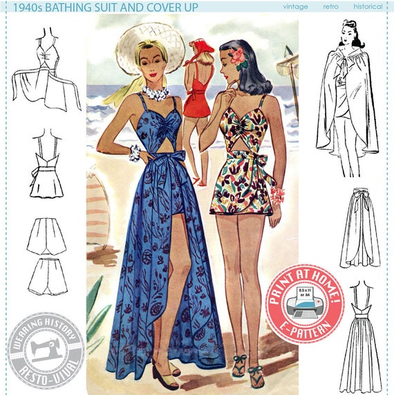 1940s Sewing Patterns – Dresses, Overalls, Lingerie etc  1940S Bathing Suit & Skirt Cover Up- SIZE 30