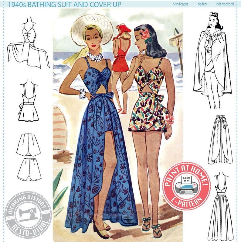 E-PATTERN Early 1940S Bathing Suit & Skirt Cover Up SIZE image 0
