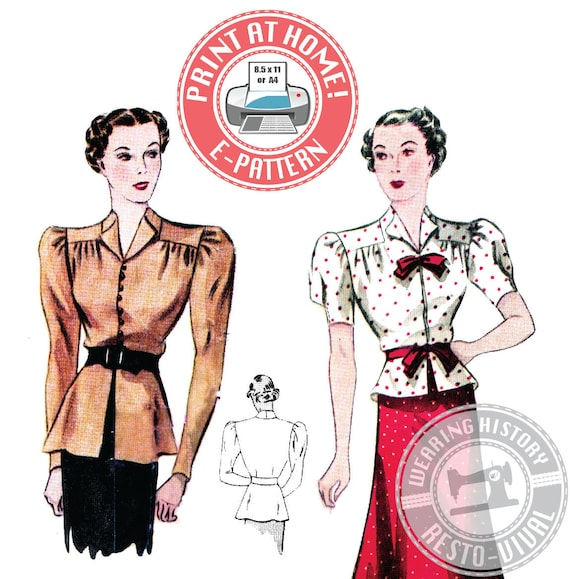1930s Sewing Patterns- Dresses, Pants, Tops 1930s Day or Evening Blouse Pattern- Wearing History PDF Sewing Pattern $12.00 AT vintagedancer.com