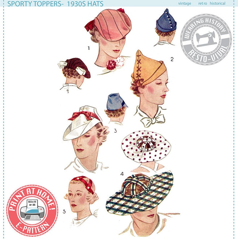 Women's Vintage Hats | Old Fashioned Hats | Retro Hats E-Pattern- Sporty Toppers- 1930s Hats- Wearing History PDF Sewing Pattern $12.00 AT vintagedancer.com