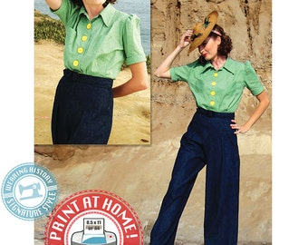 E-Pattern- Smooth Sailing 1930s Sport Togs- Blouse & Trousers Pattern- MISSES SIZE- Wearing History PDF