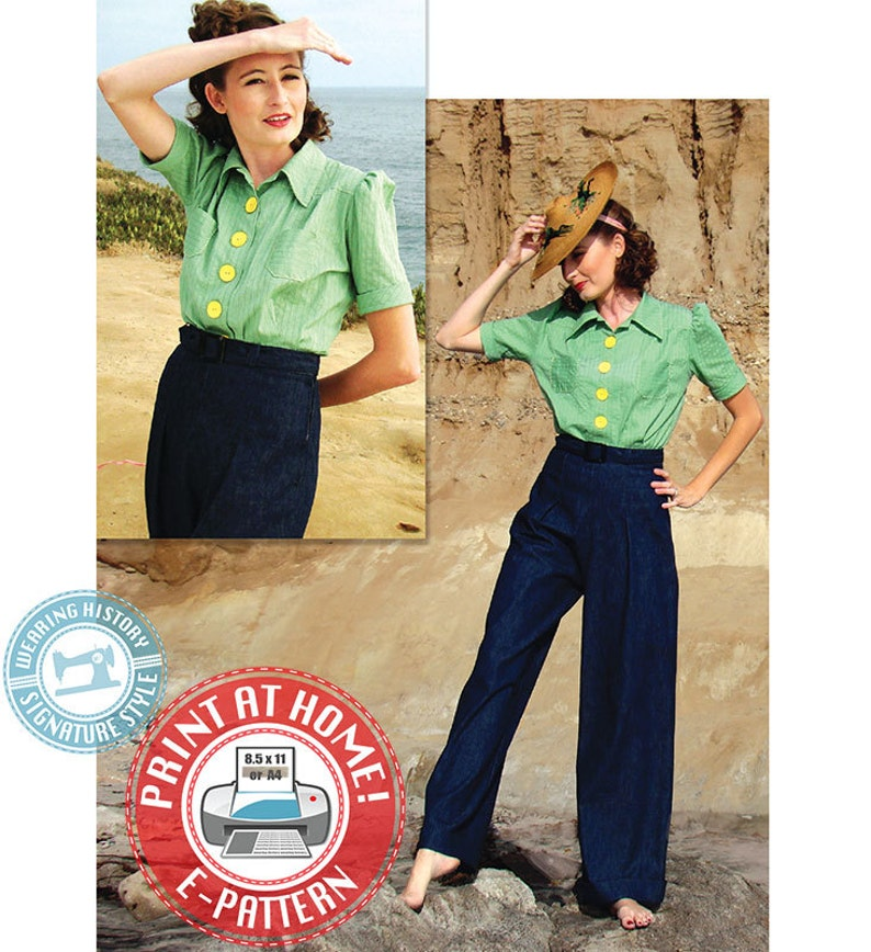 E-Pattern Smooth Sailing 1930s Sport Togs Blouse & Trousers image 0