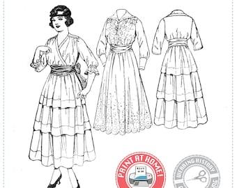 E-Pattern- MULTISIZE- Circa 1916- Eloise- Surplice Dress & Shield - Wearing History PDF 1910 WWI 1910s 1900s Download