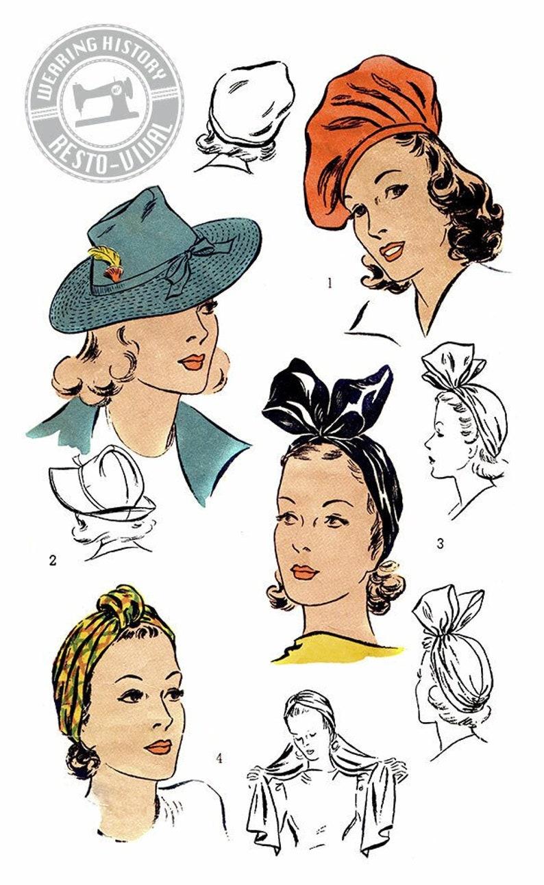 1940s Style Hats   Fascinator, Turban, Fedora PRINTED PATTERN- 1940s Hat Wardrobe Pattern- Size 22