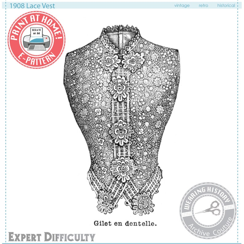 Edwardian Sewing Patterns- Dresses, Skirts, Blouses, Costumes 1908 Lace Vest Sewing Pattern- Bust 36 3/4