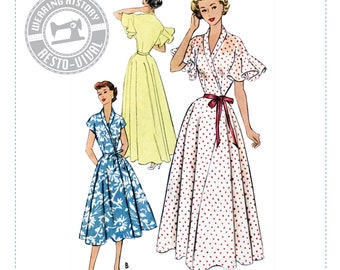 """PRINTED PATTERN- 1950s """"Jeannie"""" Wrap Dress & House Coat Pattern- Sizes 30-46"""" Bust Wearing History Negligee Dressing Gown"""