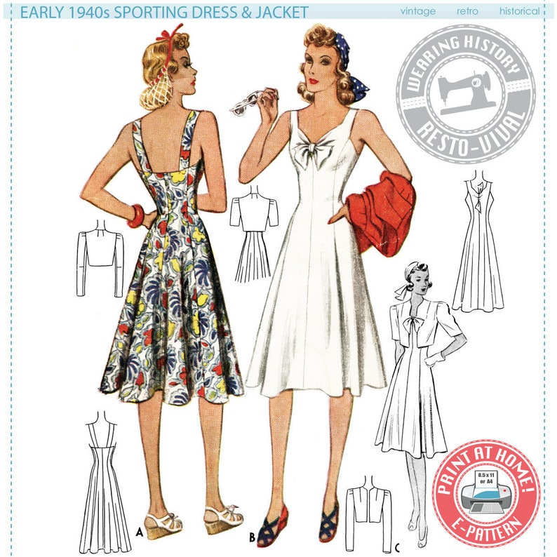 1940s Sewing Patterns – Dresses, Overalls, Lingerie etc E-Pattern- Early 1940s Sports Dress and Jacket Pattern- 40s 1940s- Wearing History PDF Vintage Sewing Pattern $14.00 AT vintagedancer.com