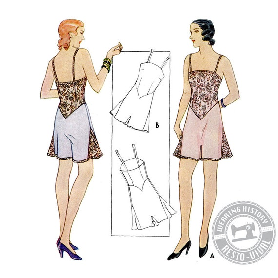 Retro Lingerie, Vintage Lingerie, 1940s-1970s 1930s Combination Underwear Pattern- Wearing History PDF $9.99 AT vintagedancer.com