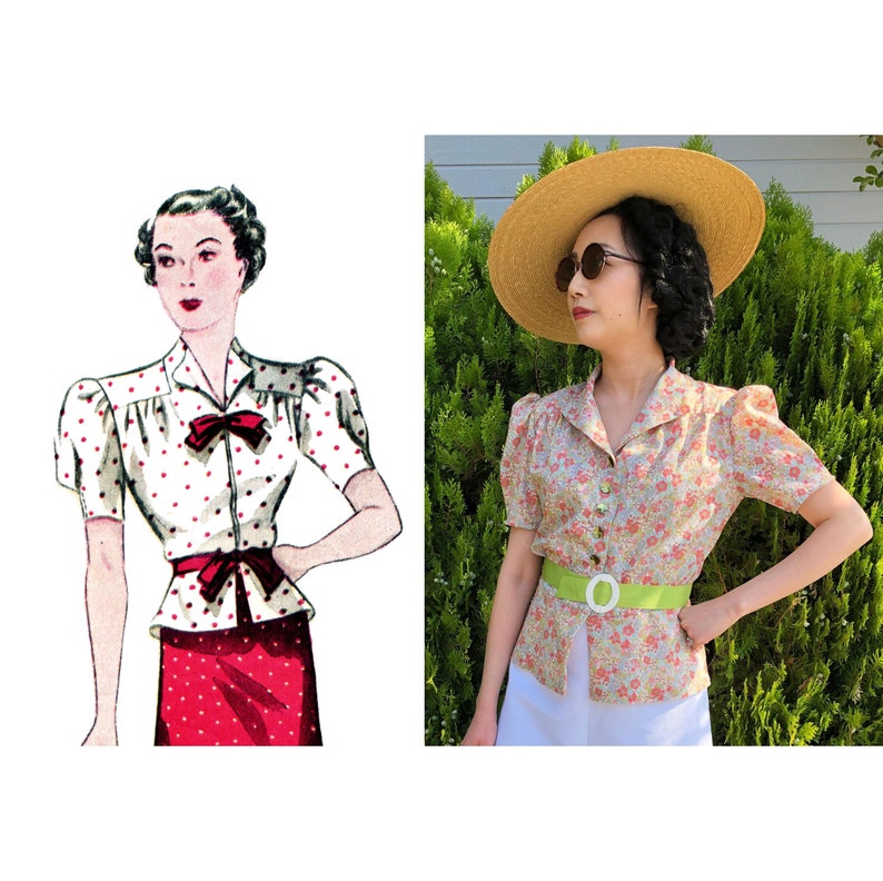 E-Pattern-1930s Day or Evening Blouse Pattern Wearing History image 1