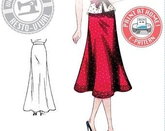 E-Pattern-1930s Day or Evening Bias Skirt Pattern- Wearing History PDF Sewing Pattern