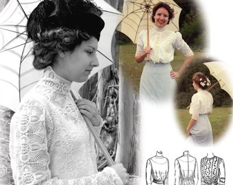 E-Pattern- 1900-1910s Blouse & Guimpe Pattern- SIZE PACK 1