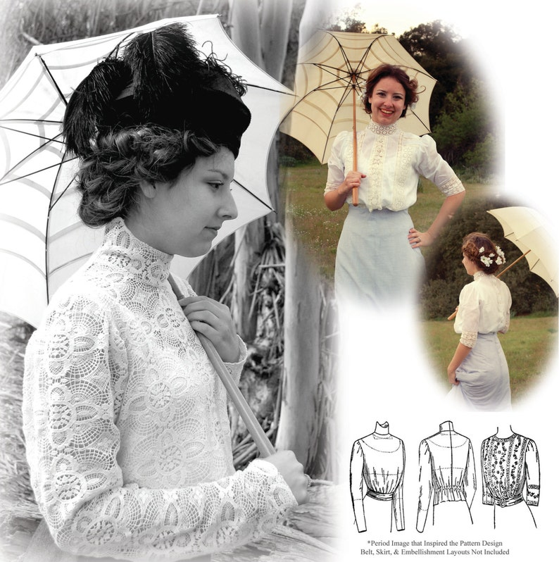 E-Pattern 1900-1910s Blouse & Guimpe SIZE PACK 2 PDF Sewing image 0