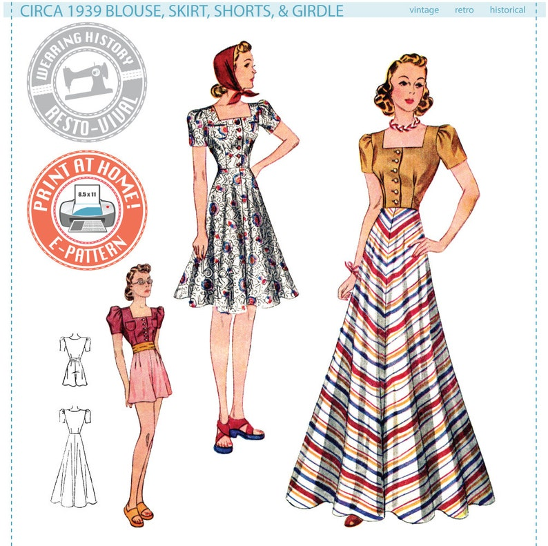 Vintage Skirts | Retro, Pencil, Swing, Boho Circa 1939 Blouse Skirt Shorts & Girdle- 1930s 1940s- Wearing History PDF Vintage Sewing Pattern $14.00 AT vintagedancer.com