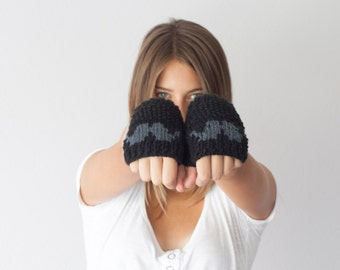 Sales Black fingerless gloves with a moustache texting gloves hand mittens wrist warmers short knit gloves hand knit gloves