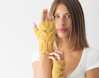 Sales Hand knit owl fingerless gloves in mustard yellow wrist warmers texting gloves mitts knit fingerless gloves womens gloves