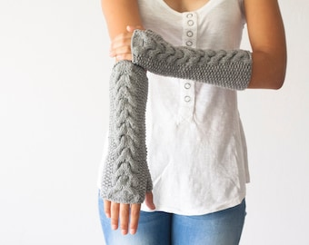Sales Hand knit grey cable arm warmers long fingerless gloves hand knit women's gloves mittens half finger gloves gift under 40