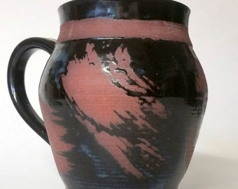 Black Mug Made with Red Stoneware Clay - Wheel Thrown Pottery - Holds 20 ounces or 2 1/2 cups