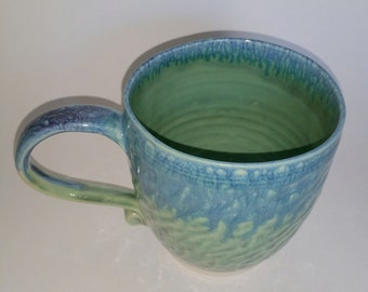 Green, Teal & Blue Chattered Oval Mug - Wheel Thrown Pottery - Holds 18 ounces with room to spare (20 ounces to the rim)